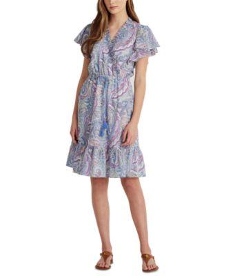 로렌 랄프로렌 Lauren Ralph Lauren Paisley Print A-Line Dress,Col Cream/blue/multi