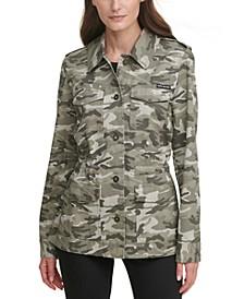 Juniors' Camo-Print Cargo Jacket