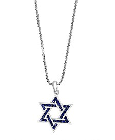 """EFFY® Men's Sapphire Star of David 22"""" Pendant Necklace (1 ct. t.w.) in Sterling Silver"""