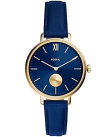 Women's Kalya Gold-Tone blue Leather Strap Watch 36mm