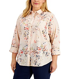 Plus Size Cotton Floral-Print Clip-Dot Top, Created for Macy's