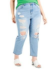 Trendy Plus Size Lorena Distressed Straight-Leg Jeans