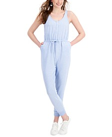 Petite Drawstring-Waist Jumpsuit, Created for Macy's