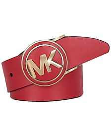 Micheal Circle-Buckle Leather Belt