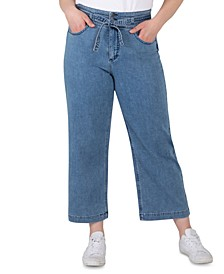 Plus Size Belted High-Rise Wide-Leg Crop Jeans