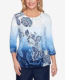 Plus Size Classics Ombre Floral Diagonal Top