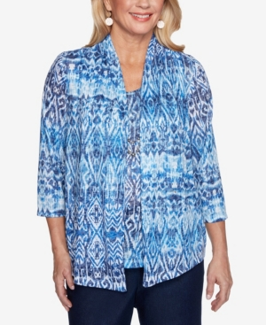 Alfred Dunner PLUS SIZE CLASSICS S1 IKAT BIADERE TOP