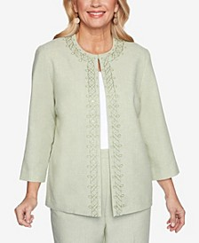 Plus Size Springtime in Paris Scroll Embroidered Jacket