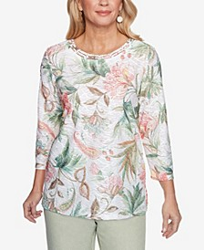 Plus Size Springtime in Paris Floral Texture Top
