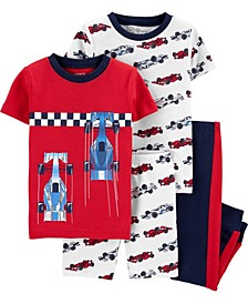 Baby Boys Race Car Snug Fit Pajamas, 4 Piece
