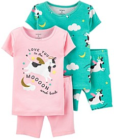 Toddler Girls Cow Snug Fit Pajamas, 4 Piece