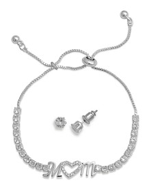 Fine Silver Plated Cubic Zirconia Adjustable Mom Bracelet and Stud Earring Set