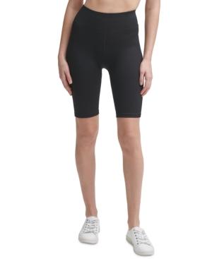 Calvin Klein Performance Ribbed High-waist Bike Shorts In Black