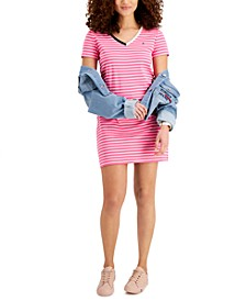 V-Neck Striped T-Shirt Dress