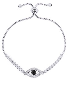 Black Diamond Accent Evil Eye Adjustable Bolo Bracelet in Fine Silver Plate