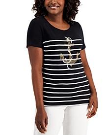 Petite Printed Rhinestone-Embellished T-Shirt, Created for Macy's
