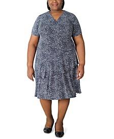 Plus Size Printed Jersey Midi Dress