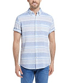 Men's Striped Short Sleeves Linen Shirt