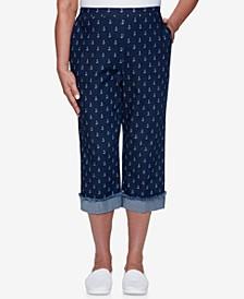 Petite Anchor's Away Anchor-Print Capri Pants