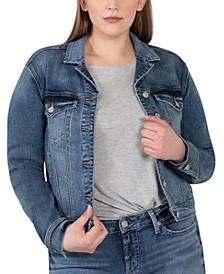 Plus Size Notched Crop Denim Jacket