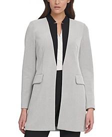 Contrast-Collar Topper Jacket