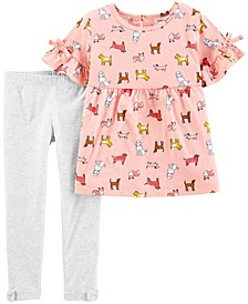 Baby Girls Dog Jersey Top and Legging Set, 2 Pieces