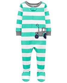 Baby Boys Tractor Footie Pajamas