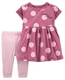 Baby Girls Polka Dot Dress and Legging Set, 2 Pieces