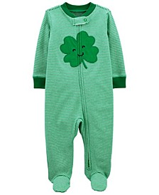 Baby Boy or Girl St. Patrick's Day Zip-Up Cotton Sleep and Play