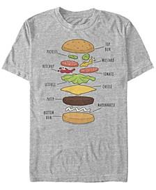Men's Bob's Burgers Burger Diagram Short Sleeve T-shirt
