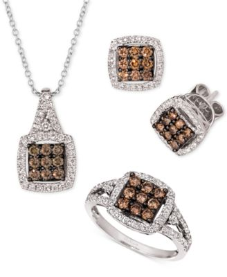 Chocolate Diamond (3/8 ct. t.w.) & Nude Diamond (1/4 ct. t.w.) Square Cluster Stud Earrings in 14k White Gold