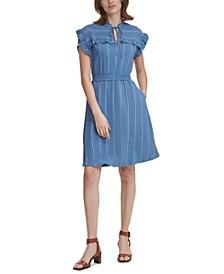 Petite Stitched Ruffled A-Line Dress