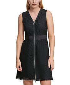 Sleeveless V-Neck Mesh-Lace Zip-Front Dress