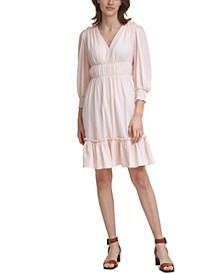 Textured Ruched-Waist Dress