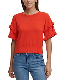 Solid Ruffled-Sleeve Cotton Sweater