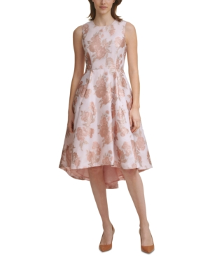 Calvin Klein Jacquard High-low Dress In Nectar/khaki