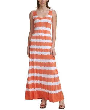 Calvin Klein Tie-dyed Knit Maxi Dress In Orange
