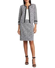 Imitation Pearl-Trim Tweed Jacket & Tweed Skirt