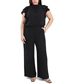 Plus Size Flutter-Sleeve Smocked-Waist Jumpsuit