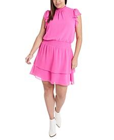 Plus Size Smocked Flutter-Sleeve Dress