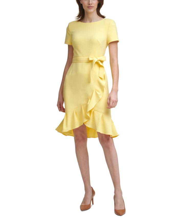 Calvin Klein Petite Ruffle-Hem Dress & Reviews - Dresses - Petites - Macy's