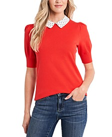 Cotton Collared Puff-Sleeve Sweater