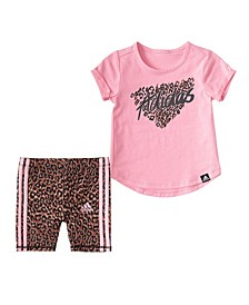 Little Girls Leopard T-shirt and Bike Short Set, 2 Piece