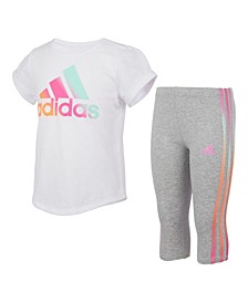 Little Girls Short Sleeve Top and Iridescence 3-Stripe Capri Tight Set, 2 Piece