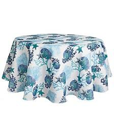 "Coastal Coral Tablecloth,70"" Round"