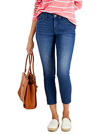 Petite Curvy-Fit Mid-Rise Skinny Ankle Jeans, Created for Macy's