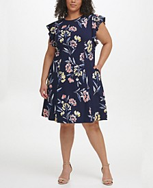 Plus Size Floral-Print Flutter-Sleeve Dress