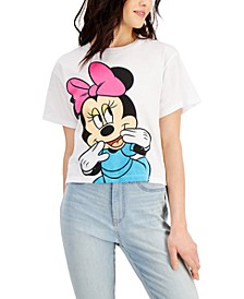 Juniors' Cotton Shy Minnie Graphic-Print T-Shirt