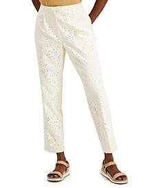 Straight-Leg Eyelet Pants, Created for Macy's