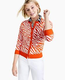 Zebra-Print Cardigan Sweater, Created for Macy's